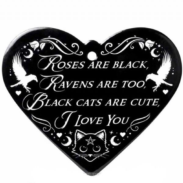 ALCHEMY GOTHIC Roses Are Black - Poetic Heart Ceramic Trivet